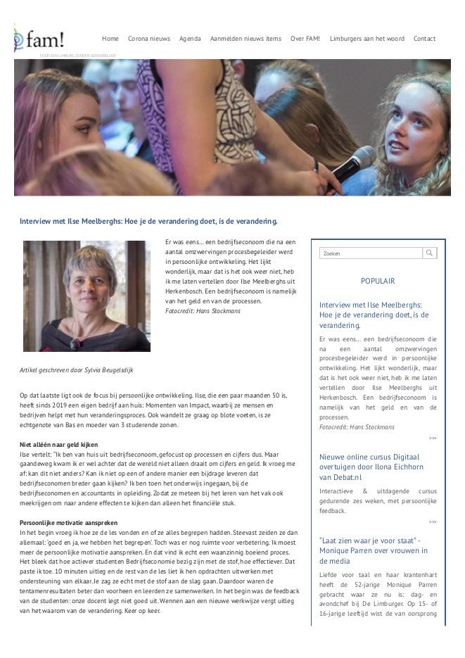 FAM Netwerk Interview Ilse Meelberghs